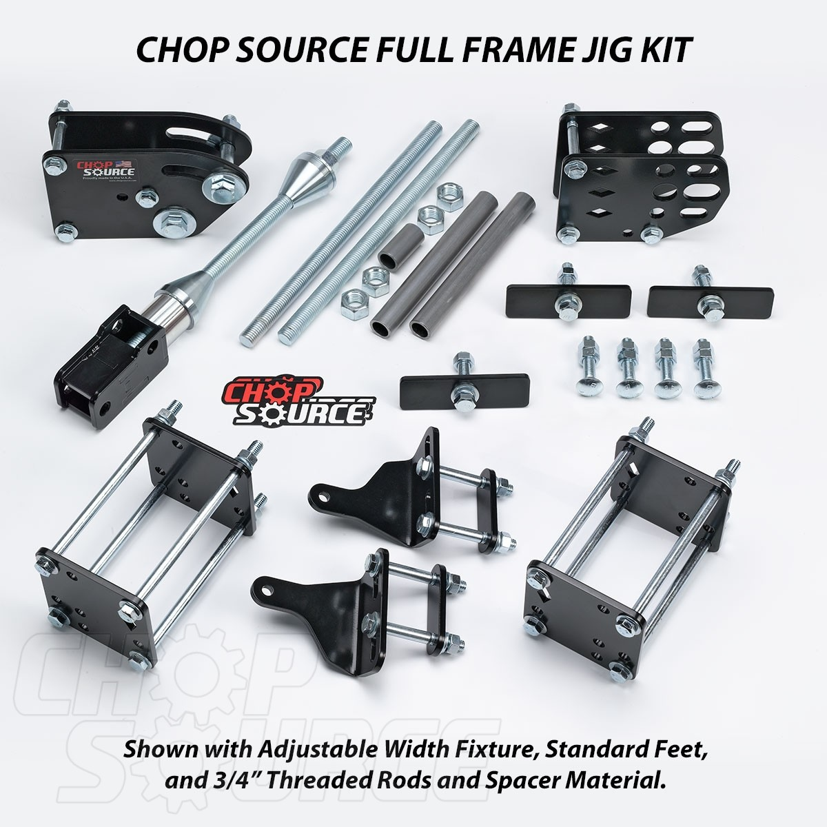 Chop Source Motorcycle Frame Jig Kit - Adjustable Width Fixture and Standard Feet